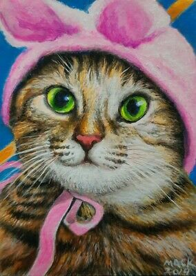 Original ACEO Acrylic Painting Art Pink Costume Cat Collect Gift Card Decor HBD