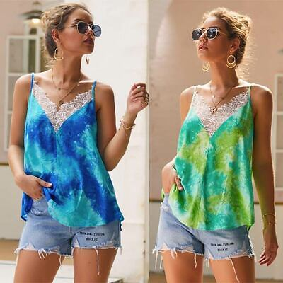Vest Lace Women Camisole Loose Blouse V-Neck T-Shirt Casual Sleeveless Tank Tops