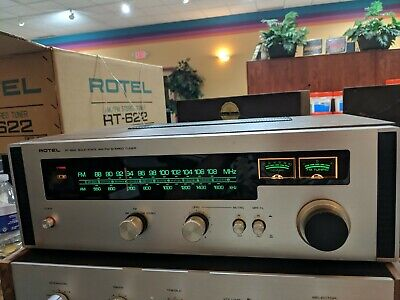 Vintage ROTEL RT-622 TUNER with Manual  and Box Wood Cabinet Very Good Condition