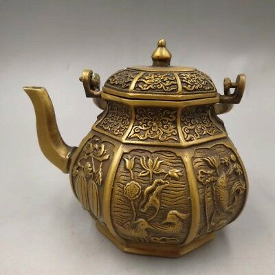 Chinese Old copper handmade Lotus swan teapot flagon Home decoration Statue
