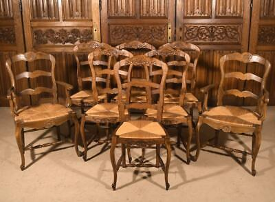 8 Antique French Provincial Louis  XV Style Chairs/Armchairs with Rush Seats