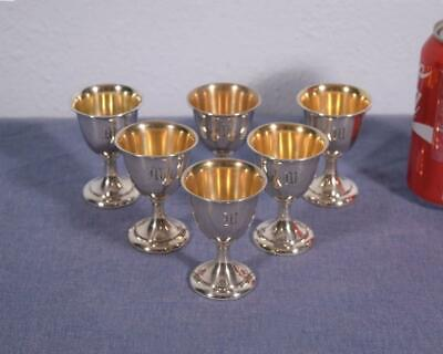 Set of 6 Antique Sterling Silver Cups,Gold Wash, R. Wallace & Sons, Monogram M