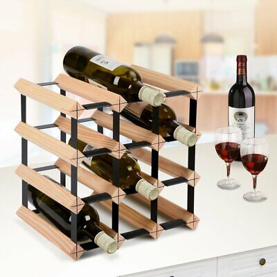 12 Bottle Timber Wine Rack  Wine Stash Storage Wooden Cellar Organiser Display