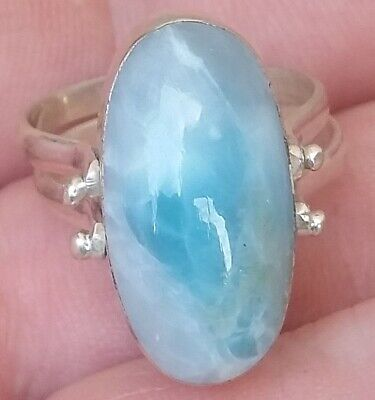 TWO SIDE LARIMAR AMBER stones 925 sterling silver RING size 6.5  tw-3