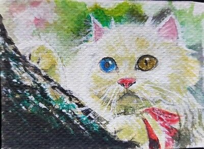 Cute Cat Original ACEO Acrylic Painting Art Tree White Nature Gift Card HBD