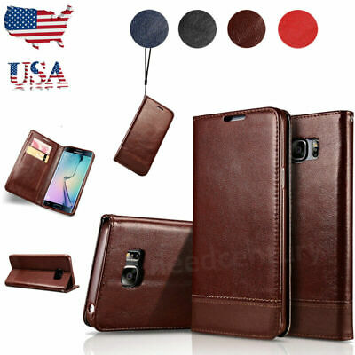 For Samsung Galaxy S8 S9 Plus Note 8 9 Leather Flip Wallet Card Case Stand Cover