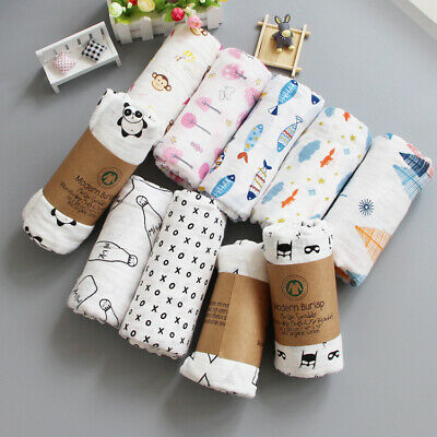 100% Cotton Newborn Muslin Swaddle Squares Blanket Wrap For Baby 0-3-6-12 Months