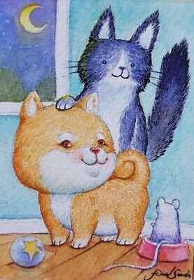 Original ACEO Watercolor Painting Art Collect Very Cute Cat Kitten Card Dog Rat