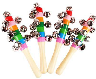 Baby Rainbow Wooden Handle Bell Jingle Shaker Stick Music Sound Rattle Kid Toys