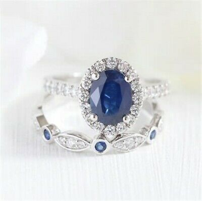 Silver Plated Blue Oval Crystal Ring Set Size 6