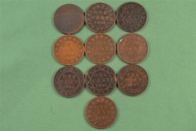 Lot of Ten 1876-1892 Canada 1c One Cent Penny Coin Set
