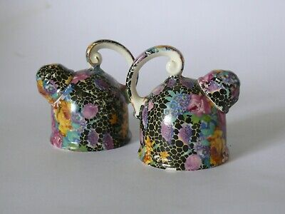 Vintage Japanese Hallton Ware Kettle Salt And Pepper Shakers Chintz Pattern