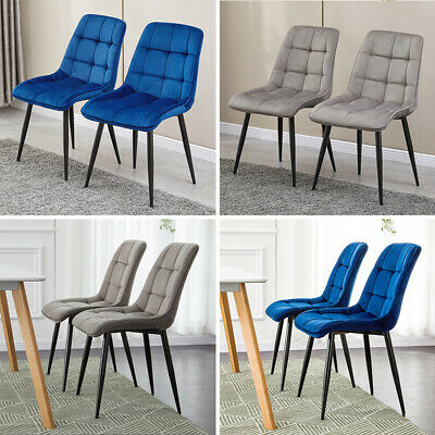 Set of 2/4/6 Velvet Dining Chairs Office Chair Dining Room Restaurant Grey Blue