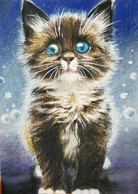 CAT ORIGINAL ACEO Painting Art Card Collect HBD Gift Kitten Cute Black Xmas