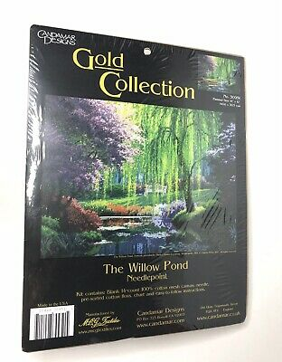 Candamar Designs Gold Collection The Willow Pond Needlepoint Kit 12x16 NEW 30951