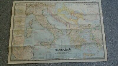vintage map of THE CLASSICAL LANDS OF THE MEDITERRANEAN 1949