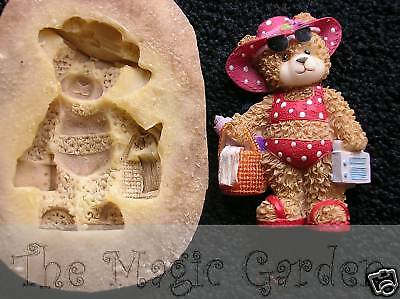 3 Cute beach seaside teddy bears cement plaster resin craft latex molds moulds