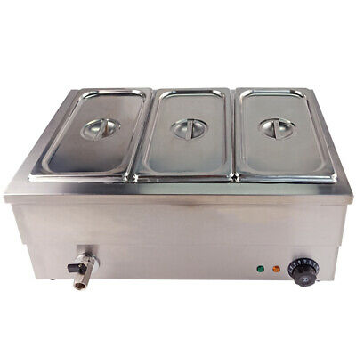 3x1/3 GN Pan Bain Marie Electric Food Warmer Stainless Steel Buffet Displays AU