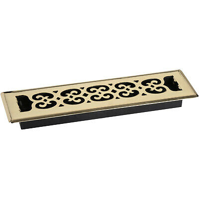 Decor Grates Scroll Steel Plated Brass 2 in. x 12 in. Floor Register