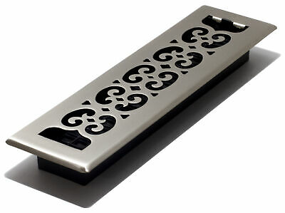 "Decor Grates Scroll Floor Register, Plated Nickel, 2"" x 12"""