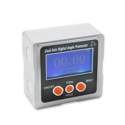 Metal Dual axis Bevel Box with 3-side Magnets Digital Protractor Inclinometer