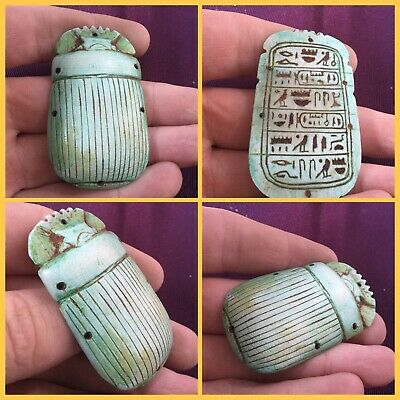 Rare ancient Egyptian blue  scarab beetle with hieroglyphics 300 bc