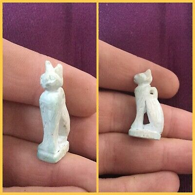 Very rare ancient blue faience  Egyptian cat amulet , 300 bc