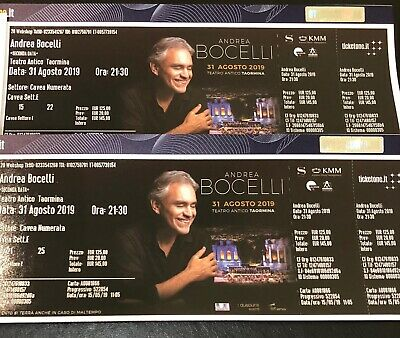 2x Tickets Andrea Bocelli in Taormina/Sizilien