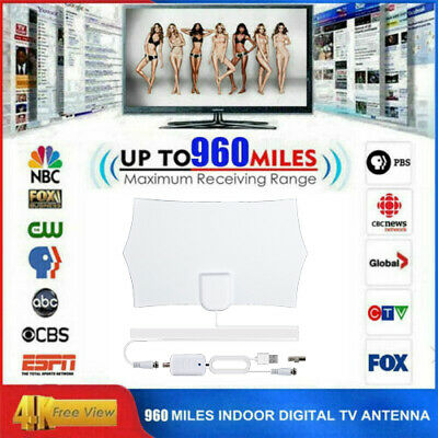 Digital TV Antenna Indoor Aerial HD Freeview Signal Amplified Thin HDTV 960Mile