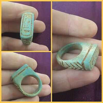 Rare ancient Egyptian blue faience hieroglyphics amulet Ring , 300 bc