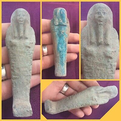 Rare ancient Egyptian blue faience shabti , c945-715 bc .
