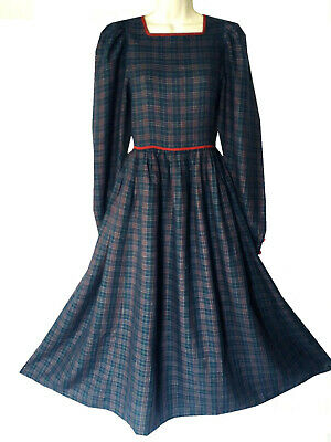 Vintage Laura Ashley Rare Blue Tartan Neo-Victorian Day Dress, Uk 8  (Label 10)