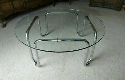 """Glass topped chrome occasional table 36"""" diameter circa 1970"""