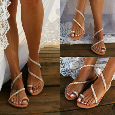 Womens Boho Pearl Flat Sandals Ladies Summer Holiday Beach Flip Flop Shoes Size