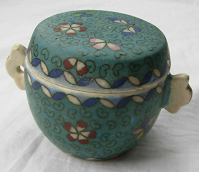 Japanese Meiji period Totai cloisonne porcelain lidded pot with handles