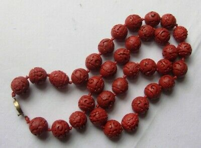 "Beautiful vintage Chinese Cinnabar bead necklace 26"" length 15mm beads"