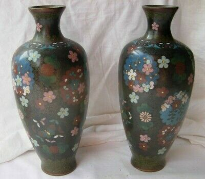 Pair of Antique Japanese Black Swirl Wire Ground Cloisonne 22cms tall