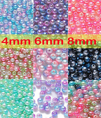 ABS DIY 4mm /6mm / 8mm Acrylic Round Pearl Spacer Loose Beads Jewelry Makings Bu