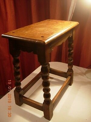 Antique Wooden joint stool or small side occasional table carved and turned