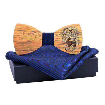 Trendy Men Wooden Bow Tie Tuxed Bowtie Wood Necktie Wedding Party Accessory
