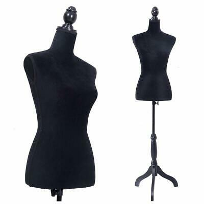 Black Female Mannequin Torso Dress Form Display W/ Adjustable Tripod Stand US
