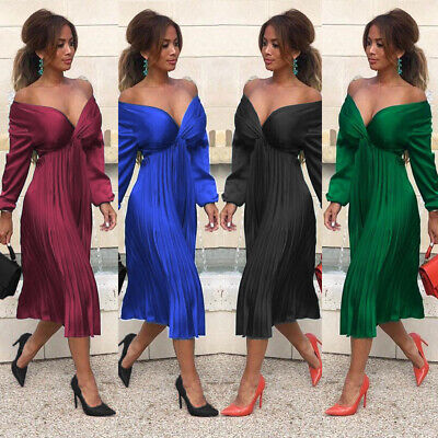 Women Long Sleeve V Neck Midi Dress Ladies Evening Cocktail Party Pleated Skirt