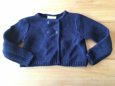 THE LITTLE WHITE COMPANY girls blue knit cropped cardigan jacket 2 - 3 years