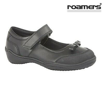 GIRLS  Bow Touch Fastening Black Leather School Shoes - Size 8 9 10 11 12 13 1 2