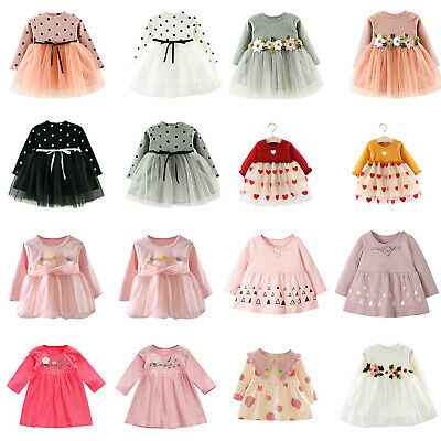 Flower Autumn Baby Girls Clothes Dress Girl Clothing Skirt Infant Dresses LOT