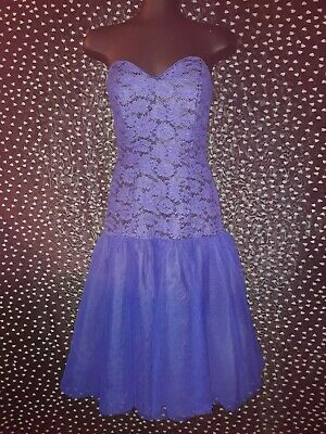 Genuine Vintage 80s Cotton Lace and Tulle Blue Strapless Prom Dress Size 10 Mr K