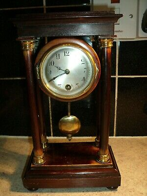 Antique German Wooden Portico Clock