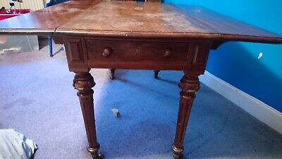 Antique 19Th Century Mahogany Pembroke Drop Leaf Occasional Table With Drawers