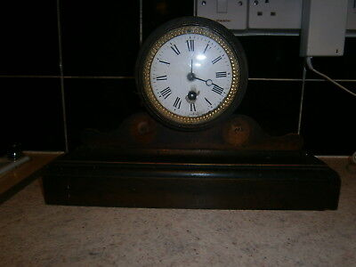 Antique French Wooden Mantel Clock