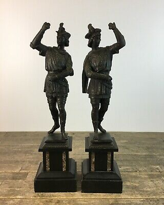 Pair Of Large Antique Spanish Spelter Statue Figures Upon Slate & Marble Base.